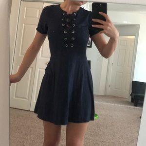 Papaya Navy Dress Corset Tie-Front